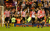 Photo. Glyn Thomas, Digitalsport<br /> NORWAY ONLY<br /> <br /> Sunderland v Crystal Palace. <br /> Division 1 Playoffs, second leg. 17/05/2004.<br /> Sunderland players are stunned as Crystal Palace force the game into extra time with an injury time goal.