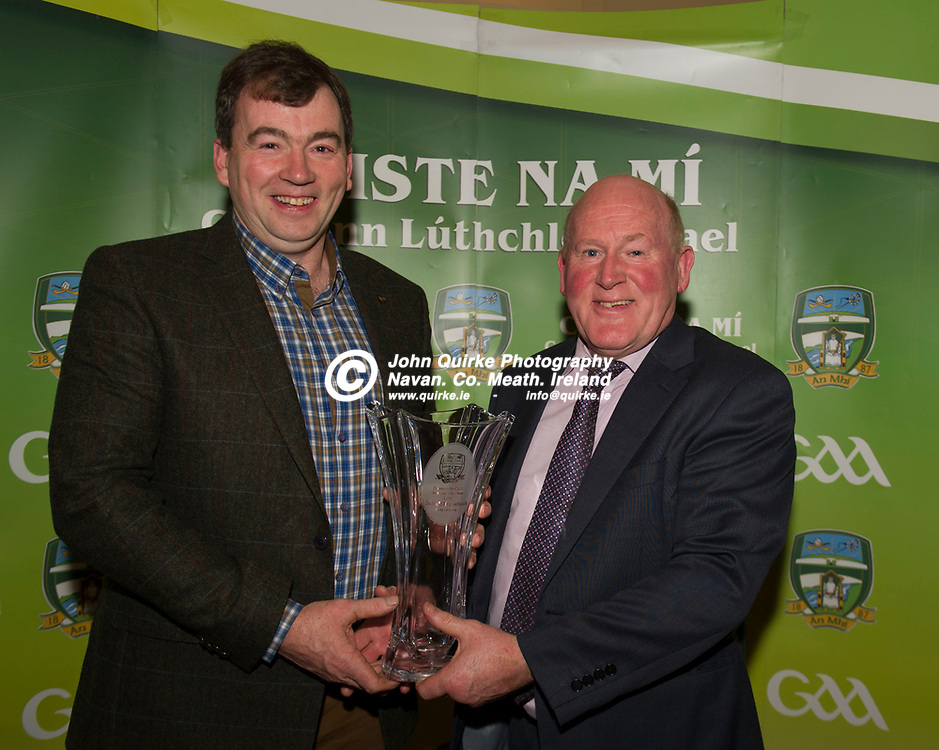 06-12-19. Meath GAA Annual Sponsors Night and Awards Presentation 2019 at the Castle Arch Hotel, Trim.<br /> Damien Griffin (Left), Meath GAA Referees presenting the Referee of the Year award to David Gough, Slane represented by Frank Gallogly.<br /> Photo: John Quirke / www.quirke.ie<br /> ©John Quirke Photography, Unit 17, Blackcastle Shopping Cte. Navan. Co. Meath. 046-9079044 / 087-2579454.