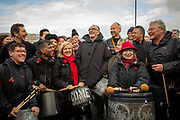 Danny Boyle with the Pandemonium Drummers from the London 2012 Olympic Ceremonies perform Symphony of Waves created for the Armistice Day centenary remembrance event 'Pages of the Sea' on Folkestone Harbour Arm, Folkestone Kent. 11th November 2018. Presented by over 40 drummers, the semi-improvised piece explores the concern, anxiety, and commitment of those who left home and started a journey across the sea to fight in World War One, from which many did not return. Performed on buckets and bins is is designed to evoke memories of a pleasant land left behind and outlooks of an uncertain future.
