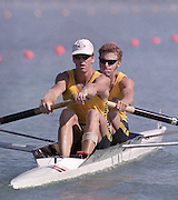 St Catharines, Ontario, CANADA 1999 World Rowing Championships. AUS M2-  James Tompkins [left] and Drew Ginn. [Mandatory Credit Peter Spurrier Intersport Images] 1999 FISA. World Rowing Championships, St Catherines, CANADA