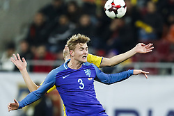 (l-r) Eric Bicfalvi of Romania, Matthijs de Ligt of Holland during the friendly match between Romania and The Netherlands on November 14, 2017 at Arena National in Bucharest, Romania