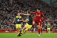 Football - 2019 / 2020 Premier League - Liverpool vs. Southampton<br /> <br /> Liverpool's Takumi Minamino has a shot blocked by Southampton's James Ward-Prowse<br /> <br /> Colorsport / Terry Donnelly