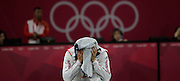 May0041710 . Daily Telegraph..DT News..2012 Olympics..Team GB's Nicholas Woodbridge takes a break during the Fencing stage of the Modern Pentathlon today...11 August 2012....