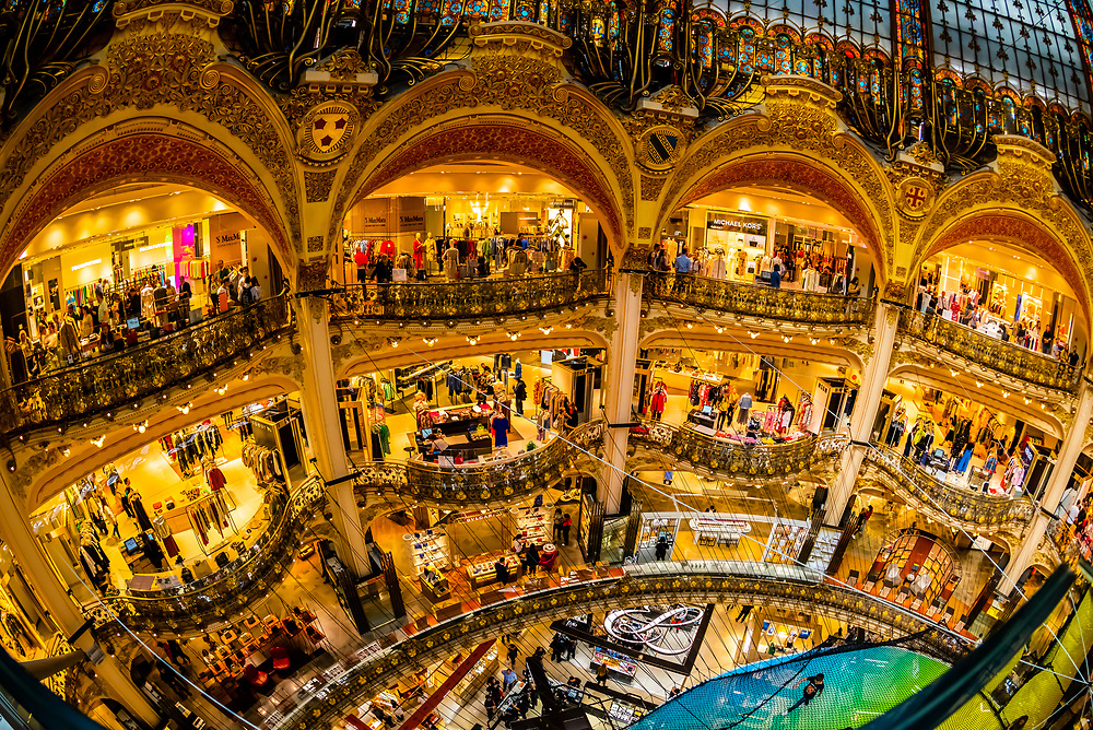 The art deco interior of Galeries Lafayette Paris Haussmann department store, Paris, France.