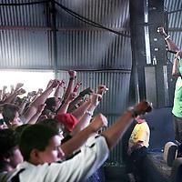 Nederland, Biddinghuizen , 22 augustus 2009..Live optreden van Hiphop formatie Zwart Licht (ontdekt door S.t.u.d.i.o.west...> is dé plek voor jongeren van 12 tot 23 jaar in Amsterdam West. Jongeren kunnen er ontdekken of ze talent hebben voor muziek, dans, theater of (nieuwe) media)  tijdens Lowlands festival.Foto:Jean-Pierre Jans