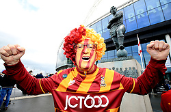 A Bradford City fan before the Sky Bet League One play off final at Wembley Stadium, London.