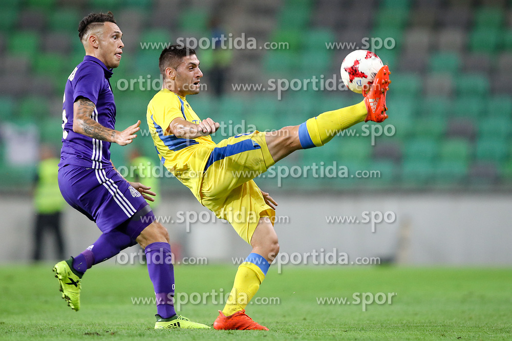 Lucas Ocampos of Olympic Marseille and Matija Sirok of NK Domzale during football match between NK Domzale and Olympique de Marseille in First game of UEFA Europa League playoff round, on August 17, 2017 in SRC Stozice, Ljubljana, Slovenia. Photo by Morgan Kristan / Sportida