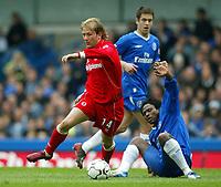 Fotball<br /> Premier League 2004<br /> Photo: Scott Heavey, Digitalsport.<br /> Chelsea v Midlesbrough. FA Barclaycard Premiership.10/04/2004<br /> Gaizka Mendieta skips past the challenge from Celestine Babayaro<br /> NORWAY ONLY