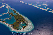 aerial view of channel through southern Belize barrier reef, with house on small caye, in vicinity of Placencia, Belize, Central America ( Caribbean Sea )