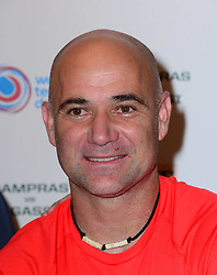 Andre Agassi attends World Tennis Day Showdown press conference ahead of his participation in World Tennis Day Showdown today, where Agassi will play Sampras, and Lendl will play Cash in memory of their 'epic Grand Slam rivalries', at The Athenaeum Hotel, 116 Piccadilly, London, United Kingdom. Monday, 3rd March 2014. Picture by Nils Jorgensen / i-Images