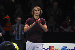 November 12, 2017 - London, England, United Kingdom - Alexander Zverev of Germany celebrates a break point in the third set against Marin Cilic of Croatia in their round robin match during the Nitto ATP World Tour Finals at O2 Arena on November 12, 2017 in London, England. (Credit Image: © Alberto Pezzali/NurPhoto via ZUMA Press)