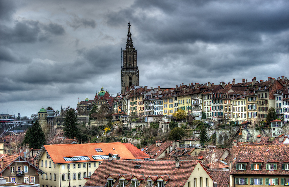 Bern - chatedral and old city rooftops