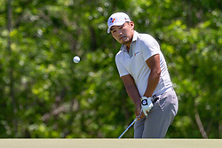 May 12, 2019 - Dallas, TX, U.S. - DALLAS, TX - MAY 12: Sung Kang chips onto the #4 green during the final round of the AT&T Byron Nelson on May 12, 2019 at Trinity Forest Golf Club in Dallas, TX. (Photo by Andrew Dieb/Icon Sportswire) (Credit Image: © Andrew Dieb/Icon SMI via ZUMA Press)