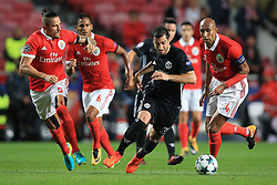 18 October 2017 -  UEFA Champions League - (Group A) - SL Benfica v Manchester United  - Henrikh Mkhitaryan of Manchester United in action with (L-R) Ljubomir Fejsa, Filipe Augusto and Luisao of Benfica - Photo: Marc Atkins/Offside