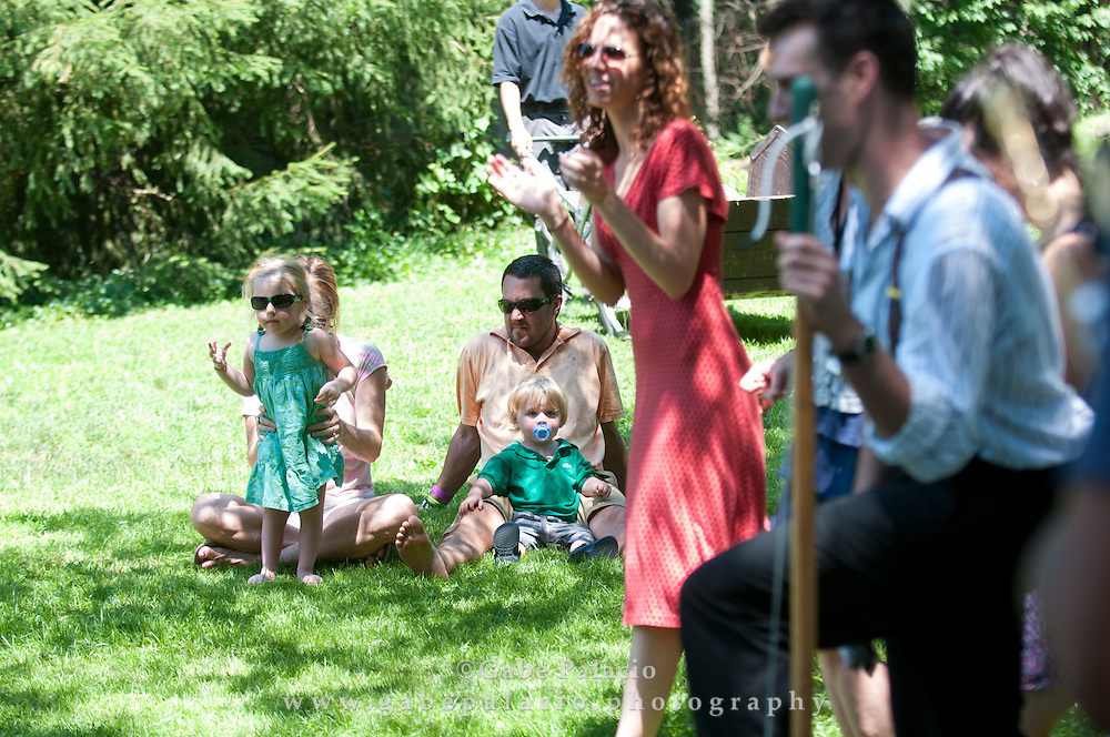Roosevelt Dime with Red Molly  performing in the Sunken Garden set at the American Roots Music Festival at Caramoor in Katonah New York.photo by Gabe Palacio