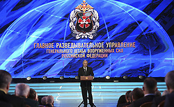 November 2, 2018 - Moscow, Russia - Russian President Vladimir Putin addresses a gala event to mark the centenary of the Main Directorate of the General Staff of the Armed Forces of Russia known as the GRU at the Russian Army Theatre November 2, 2018 in Moscow, Russia. (Credit Image: © Kremlin Pool via ZUMA Wire)