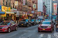 NEW YORK CITY- MARCH 27, 2018 : Chinatown streets one of the main Manhattan Landmarks