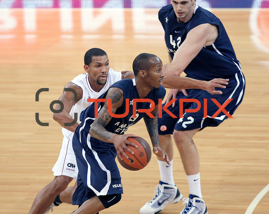 Anadolu Efes's Terence KINSEY (F) and Stanko BARAC (R) during their Turkish Airlines Euroleague Basketball Group C Game 2 match Anadolu Efes between Belgacom Spirou  at Abdi Ipekci Arena in Istanbul, Turkey, Wednesday, October 26, 2011. Photo by TURKPIX