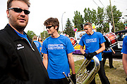The Oregon Marching Band marches in the Bowness Stampede Parade in Bowness, Alberta, Canada on July 9, 2011.