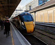 GWR Intercity Express train arriving at platform Cardiff railway station, South Wales UK - Main Line South Wales to London