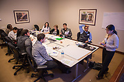 Purchase, NY – 31 October 2014. Peekskill High School students analyzing the case. The Business Skills Olympics was founded by the African American Men of Westchester, is sponsored and facilitated by Morgan Stanley, and is open to high school teams in Westchester County.