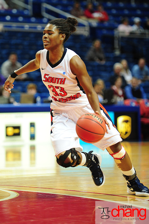 South Alabama's guard, Mansa El (33), dribbles down court in the second half of play in Mobile, AL. South Alabama defeated Denver 57-51 on Jan 7, 2012...