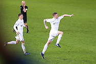 Alfie Mawson of Swansea city celebrates after he scores his teams 1st goal. Premier league match, Swansea city v Southampton at the Liberty Stadium in Swansea, South Wales on Tuesday 31st January 2017.<br /> pic by  Andrew Orchard, Andrew Orchard sports photography.