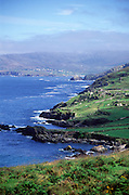 Coastal scenery and scattered settlement Dursey Head, Beara peninsula, County Cork, Ireland looking north