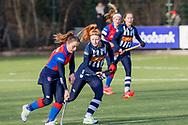 BILTHOVEN -  Hoofdklasse competitiewedstrijd dames, SCHC v hdm, seizoen 2020-2021.<br /> Foto: Klaartje de Bruijn (SCHC) en Jip Blaas (hdm)