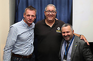 Ivor Heller, Stuart Pearce and Ian Abrahams (The Moose from Talk Sport) during the EFL Carabao Cup 2nd round match between AFC Wimbledon and West Ham United at the Cherry Red Records Stadium, Kingston, England on 28 August 2018.