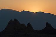 Sunrise light and Tufa rock formations at the Trona Pinnacles, California