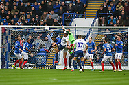 Portsmouth Goalkeeper, Craig MacGillivray (15) unable to collect the ball during the EFL Sky Bet League 1 match between Portsmouth and Wycombe Wanderers at Fratton Park, Portsmouth, England on 22 September 2018.