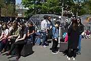 Students outside the LCC at Elephant and Castle, London, UK. The London College of Communication is one of the best known colleges for arts and media in the capital.