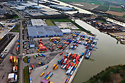 Nederland, Limburg, Gemeente Sittard-Geleen, 15-11-2010; containeroverslag Franciscushaven. Gelegen aan het Julianakanaal, tussen Born en Susteren..luchtfoto (toeslag), aerial photo (additional fee required).copyright foto/photo Siebe Swart