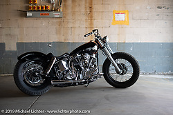 Eric Stein's custom 1964 FLH Panhead bobber built by Eric in his home garage on setup day at the Congregation Show in Charlotte, NC. USA. Friday April 13, 2018. Photography ©2018 Michael Lichter.