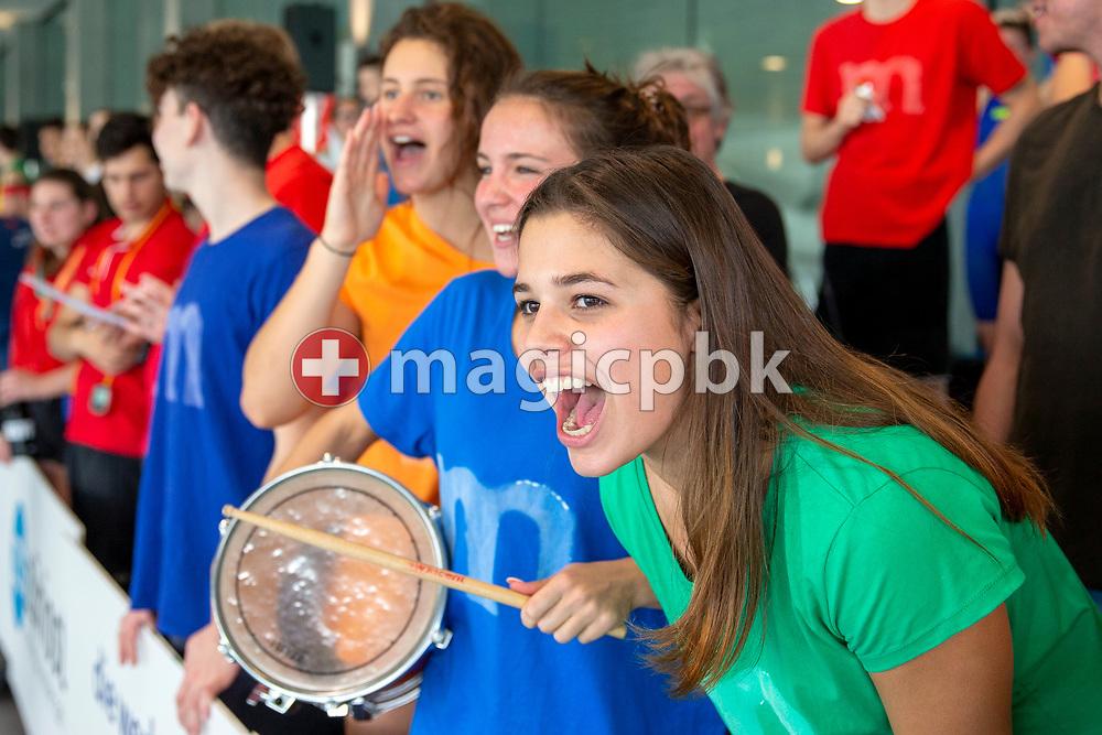 Eva GEILENKIRCHEN of Switzerland cheers during the NLA Swiss Short Course Swimming Team Championships in Uster, Switzerland, Sunday, April 15, 2018. (Photo by Patrick B. Kraemer / MAGICPBK)