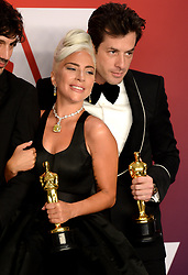 "Lady Gaga and Mark Ronson, winners of the Best Original Song Awards for ""Shallow"" in ""A Star Is Born"" at the 91st Annual Academy Awards"