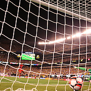 EAST RUTHERFORD, NEW JERSEY - JUNE 17:  Renato Tapia #13 of Peru beats goalkeeper David Ospina #1 of Colombia in the penalty shoot out during the Colombia Vs Peru Quarterfinal match of the Copa America Centenario USA 2016 Tournament at MetLife Stadium on June 17, 2016 in East Rutherford, New Jersey. (Photo by Tim Clayton/Corbis via Getty Images)