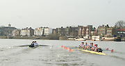 London, Great Britain. Oxford, OUBC [Blue Boat] v. Leander Club, view from the Umpires Launch, as Oxford increase their lead over Leander,  Pre Boat race fixture over the Championship Course  River Thames. Single race piece - Putney to Chiswick Pier.  on Saturday  12/03/2011 [Mandatory Credit; Karon Phillips/Intersport Images]..Crews:.Oxford OUBC: Bow Moritz HAFNER, Ben MYERS, Dave WHIFFIN,  Ben ELLISON,  Karl HUDSPITH,  Alec DENT,  George WHITTAKER, Stroke Constantine LOULOUDIS, Cox Sam WINTER-LEVY. ..Leander: Bow Oliver HOLT,  Will GRAY,  Graham HALL,  John CLAY,  James ORME,  Tom CLARK,  Ben DUGGAN, Stroke David LAMBOURN, Cox Alex OLIJNYK..