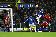 Mason Holgate of Everton gets his head to the ball but sees his effort at goal go over the crossbar. Premier league match, Everton v Manchester Utd at Goodison Park in Liverpool, Merseyside on New Years Day, Monday 1st January 2018.<br /> pic by Chris Stading, Andrew Orchard sports photography.