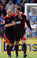 Photo: Alan Crowhurst.<br /> Wycombe Wanderers v Lincoln City. Coca Cola League 2. 23/09/2006. Lee Frecklington of Lincoln (R) is congratulated on his goal. 1-1.