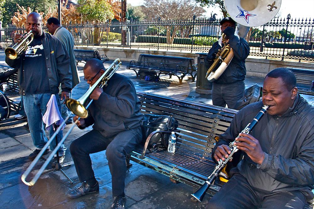 Jazz Musicians, Jackson Square, New Orleans, Louisiana, USA