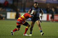 Willis Halaholo of Cardiff Blues (r) Guinness Pro14 rugby match, Cardiff Blues v Dragons at the Cardiff Arms Park in Cardiff, South Wales on Friday 6th October 2017.<br /> pic by Andrew Orchard, Andrew Orchard sports photography.
