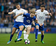 Tom Davies of Everton tackled by Islam Slimani of Leicester City and Andy King of Leicester City during the English Premier League match at Goodison Park Stadium, Liverpool. Picture date: April 9th 2017. Pic credit should read: Simon Bellis/Sportimage