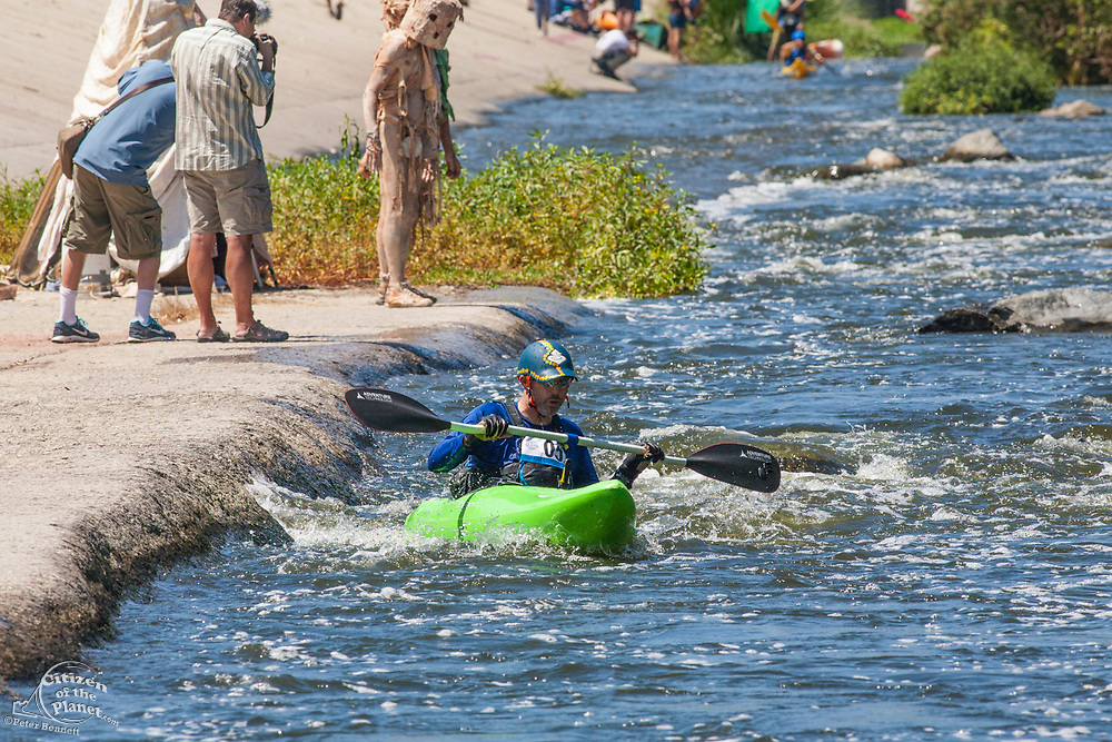 Winner of the Men's Advanced classification and best time overall (9:29): Brett Duxbury. The 1st annual LA River Boat Race was held on August 30, 2014 on a 3/4 mile course consisting of small rapids and flat water located along a stretch of the river along the Glendale Narrows in the Elysian Valley. Almost a 100 participants competed in a variety of classifications that included Mens and Womens Advanced, Intermediate and Beginners as well as Youth, Tandem and Stand-Up Paddle boat. Noted Environmentalist Ed Begley Jr. kicked off the race as the first participant, which had racers going down the course solo and racing against the clock. The race was organized by L.A. River Expeditions which was founded by George Wolfe who led the 2008 LA River Expedition that led to the river being classified as a navigable river by the EPA and consequently protected under the clean water Act.