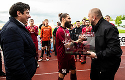 Beno Fekonja, president, Luka Majcen of Triglav and Sinisa Brkic, director of Triglav celebrate after the football match between NK Triglav Kranj and NK Domzale in 35th Round of Prva liga Telekom Slovenije 2018/19, on May 22nd, 2019, in Sports park Kranj, Slovenia. Photo by Vid Ponikvar / Sportida
