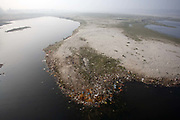 The Yamuna River as seen from above from Wazirabad Bridge. The river is so polluted that it can no longer support life, however a community still live and work on it's banks.
