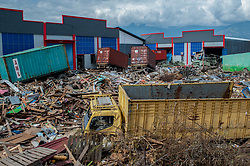 October 6, 2018 - Palu, Central Sulawesi, Indonesia - A warehouse seen damaged by the earthquake..A deadly earthquake measuring 7.5 magnitude and the tsunami wave caused by it has destroyed the city of Palu and much of the area in Central Sulawesi. According to the officials, death toll from devastating quake and tsunami rises to 1,480, around 800 people in hospitals are seriously injured and some 62,000 people have been displaced in 24 camps around the region. (Credit Image: © Hariandi Hafid/SOPA Images via ZUMA Wire)