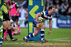 Micky Young (Bath) celebrates scoring his try - Photo mandatory by-line: Patrick Khachfe/JMP - Tel: Mobile: 07966 386802 25/01/2014 - SPORT - RUGBY UNION - The Recreation Ground, Bath - Bath Rugby v Cardiff Blues - LV= Cup.