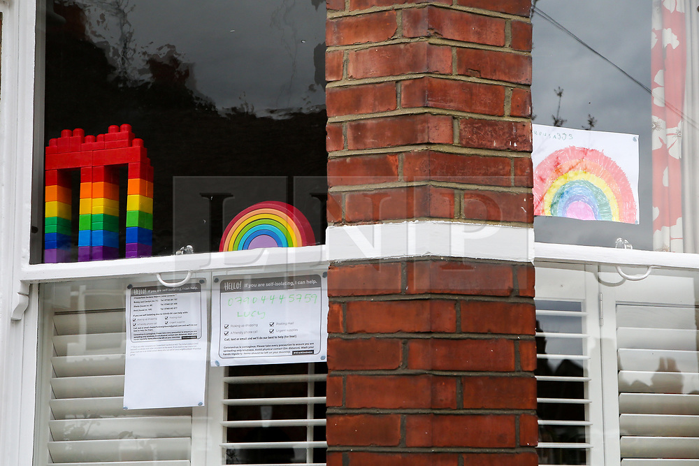 © Licensed to London News Pictures. 02/04/2020. London, UK. Colourful rainbow and lego bricks on display in a window of a north London house. Rainbows are used as a symbol of peace and hope. Photo credit: Dinendra Haria/LNP